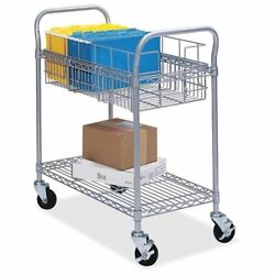 Safco Wire Mail Cart - 600 Lb Capacity - 4 X 4 Caster - Steel - 39 X 18.8 X