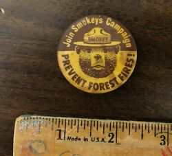 Vintage Firefighting Smokey The Bear Pinback Pin Prevent Forest Fires 1960s Govt