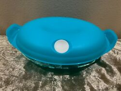 Tupperware Beauty New Heat N Serve Microwave Container W Vent Lid Aqua Color 1.1