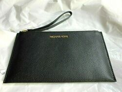 MICHAEL KORS JET SET TRAVEL LARGE ZIP CLUTCH WRISTLET BLACK PEBBLED LEATHER NEW $45.00