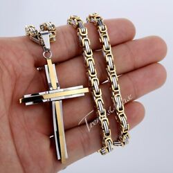 Mens Gold Silver Cross Pendant Necklace Stainless Steel Byzantine Link Chain 5mm $13.99