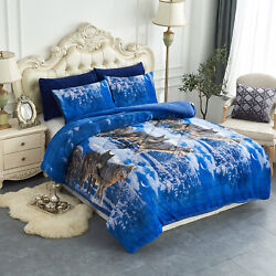 3 Pieces Borrego Blanket Set W 2 Pillow Cases Blue Wolf Sherpa Blankets