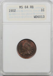 1902 1c Indian Head Cent Anacs Ms 64 Rb Uncirculated Red Brown Genie Lamp Hol...