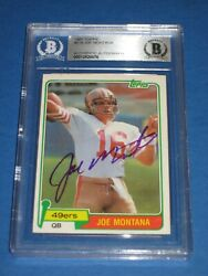 Joe Montana Signed 1981 Topps Rookie Card 216 Beckett Authenticated Rookie Sig.