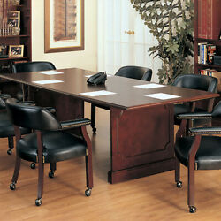 Traditional Conference Table And Chairs Set Mahogany Wood Finish Soft Upholstery