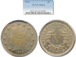 Beautiful 1912 Liberty V Nickel Pcgs Ms-64 Nicely Toned