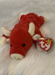Retired And Rare Snort The Red Bull 1995 Ty Beanie Baby W/errors P.v.c Pellets