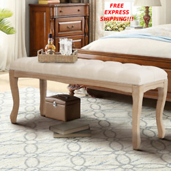 New Wood Bedroom Seat Bench Upholstered Ottoman Tufted Side Chair Sponge Cushion