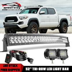 52 Inch Curved Led Light Bar 5d Tri-row Pods Kit For 2005 - 2020 Toyota Tacoma