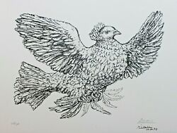Pablo Picasso Original Lithograph Hand Signed Numbered Colombe Volant Dove 1952