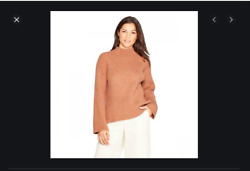 Womenand039s Mock Neck Pullover Sweater Light Brown- Small Ay81