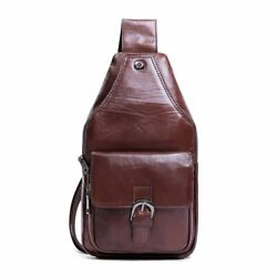 High Quality Men Sling Chest Pack Cross Body Bags Leather Shoulder Messenger Bag $71.26