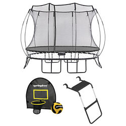 Springfree Outdoor 8 X 11 Ft Trampoline, Enclosure, Hoop Game, And Step Ladder