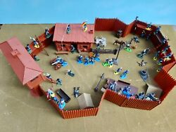 Marx/britains Deetail 54mm Custom Playset Fort And 7th Cav 54 Painted Figs Usedoop