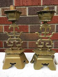 2 Asian Symbols Antique Candle Sticks Solid Brass Chinese Chinoiserie Decor