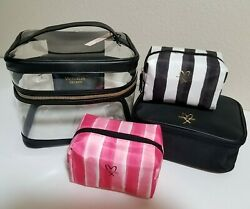 VICTORIAS SECRET Clear Train Case Set of 4 Makeup Cosmetic Travel Zip Bag NWT $21.97