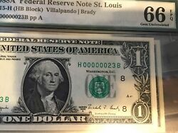 1988a-1977 1 Dollar 2 Notes 2 Digits Low Serial Number Pmg 66 Pcgs 66ppq Gem