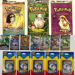 Pokemon 1st Edition Gym Hero, Jungle And Base Set 2 Booster Packs Set Of 3