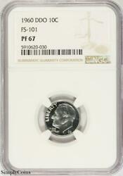 1960 Ddo Fs-101 Roosevelt Dime Ngc Pf67 Proof Doubled Die Obverse B9-620-030
