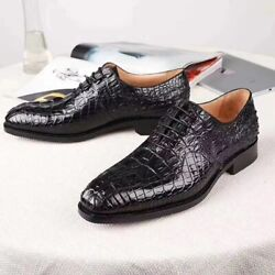 Mens Alligator Leather Cap Toe Lace-up Oxford Classic Modern Business Dress Shoe