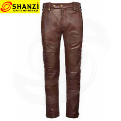 Mens Real Leather Brown Pants Jeans Trousers Semi Biker Motorcycle Fashion Pant
