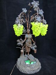Antique Beautiful Bronze Finish Spelter Girl And Grapes Shade Lamp