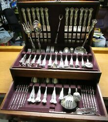 Vintage Antique Silverplate 140 Place And Serving Pieces Rogers 1904 Great Lot