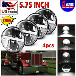 Drl 5 3/4 5.75 Projector Led Headlights Sealed Beam Fit For Peterbilt 359 348