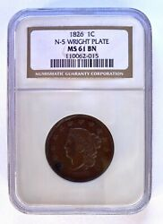 1826 Large Cent Ngc Ms61 Bn N-5 Wright Plate Great Coin