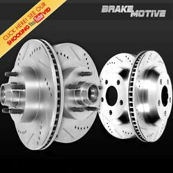 Front + Rear-premium Performance Drilled Slotted Sport Brake Rotors For 2wd