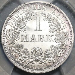1892-a Pcgs Ms 67 Germany 1 Mark Berlin Mint Gem Silver Coin 20111002c