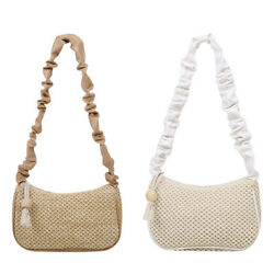 Straw Handbag Totes Women Pleated Beach Holiday Knit Underarm Shoulder Bags C $10.11