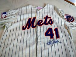 Tom Seaver Signed Mitchell And Ness 1969 Mets Flannel Jersey -jsa Authenticated