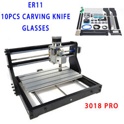 Cnc3018pro Router Engraving Machine 3axis+2500mw Laser Head+er11 Collet 220v