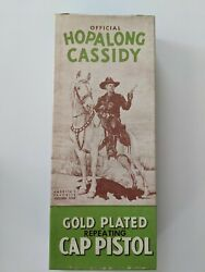 Hopalong Cassidy Gold Plated Antique Toy Cap Gun - New Never Fired-original Box