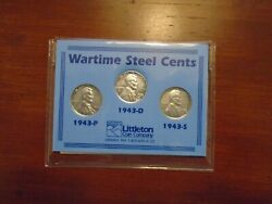 Wartime Steel Centsthree Penny Set1943 P/d/s
