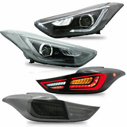 Led Headlights + Smoked Led Taillights For Elantra 11-16 Sedan 13-14 Coupe