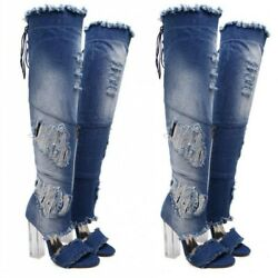 Roma Womenand039s Denim Ripped Pattern Block Heel Cut Out Overknee Long Boots Party D