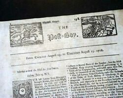 Rare 18th Century Post Boy W/ Masthead Engravings And Early America 1728 Newspaper