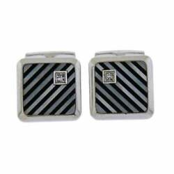 Featuring Onyx And Mother Of Pearl Inlaid Stripes 10k White Gold Charm Cz Cufflink