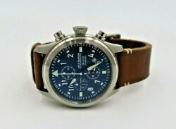 Jack Mason Jm-a102-018 Stainless Face Brown Leather Aviation Chronograph Watch