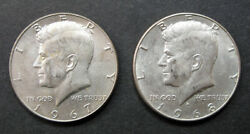 Usa Kennedy 40 Silver Half Dollars Two 2 - 1967 P And 1968 D