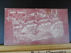 Army Trench Complete With Six Soldiers Built-rite Toys 8 Soldiers 1940s
