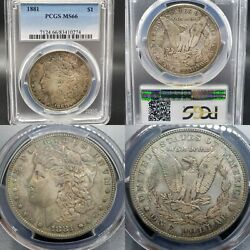 Extremely Nice Mega Toner 1881 Morgan 1 Silver Dollar Pcgs Ms-66 Cac Candidate