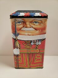 Vintage Silver Crane Company Beefeater Tin Canister 1997 Made In England Empty