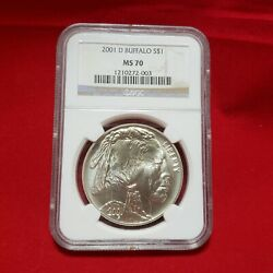 2001 D Us Buffalo Silver One Dollar Ngc Ms 70 W/ Display Case