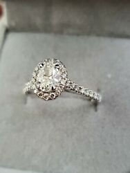 18k White Gold Oval Diamond Halo Set Ring Approx 1ct Size N With Valuation 7k