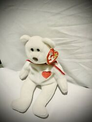 """Ty Beanie Baby """"valentino"""" Bear 1993 Rare With Brown Nose Pvc Pellets W/ Errors"""