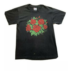 Vintage Red Roses Puff Print Black T Shirt Hanes Heavy Weight Single Stitch