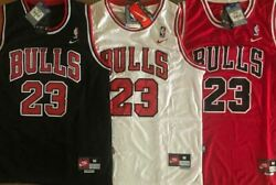 NWT #23 Michael Jordan Men#x27;s Youth Chicago Bulls Stitched Red Black White Jersey